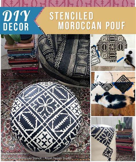 diy moroccan decor stenciled moroccan pouf paint pattern