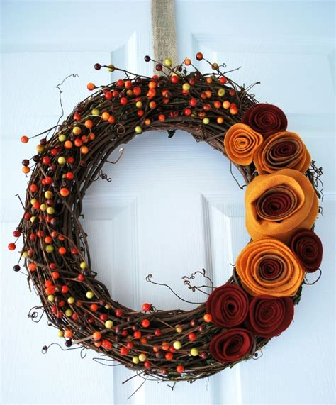 autumn wreath fall wreath with felt rosette flowers