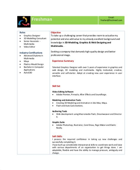 resume format for graphic designer fresher animator resume template 7 free word pdf documents