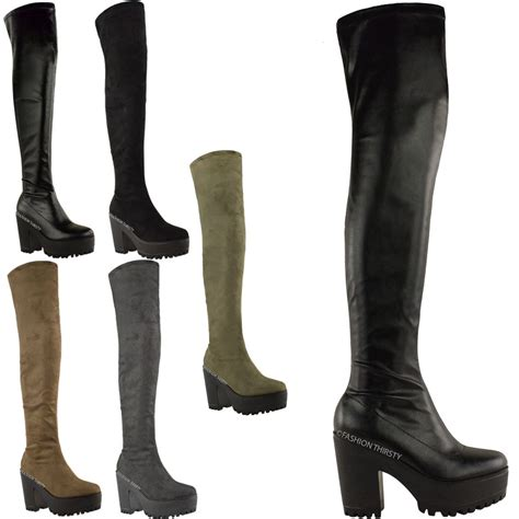 Platform The Knee Boots womens the knee thigh high chunky