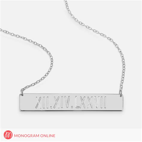 Numeral Pendant Necklace sterling silver numerals engraved bar necklace