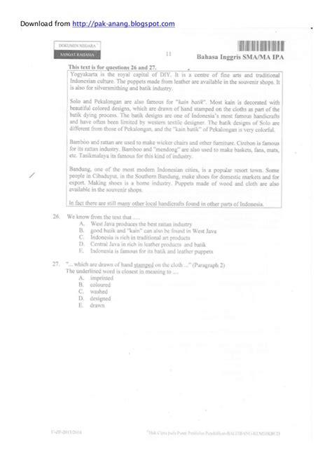 naskah soal un bahasa inggris sma 2011 paket 91 naskah soal un bahasa inggris sma 2014 paket 1