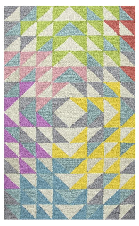 Play Area Rugs Play Day Triangle Geo Wool Area Rug In Mullticolor Ivory 5 X 7