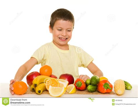 vegetables boys boy with fruits and vegetables stock photo image 46168402