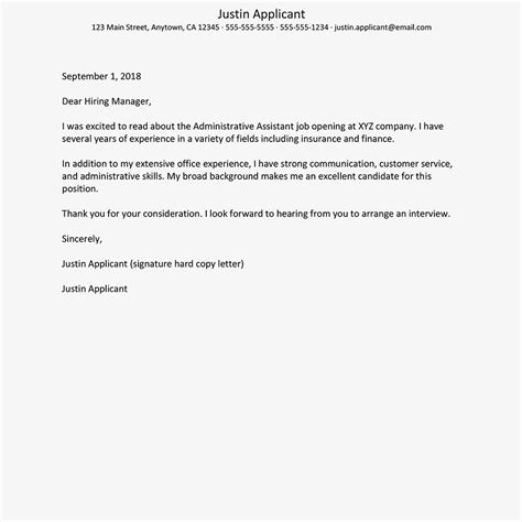marketing cover letter example sample
