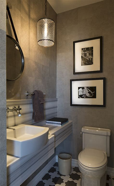 grey wallpaper powder room white and gray powder room contemporary bathroom