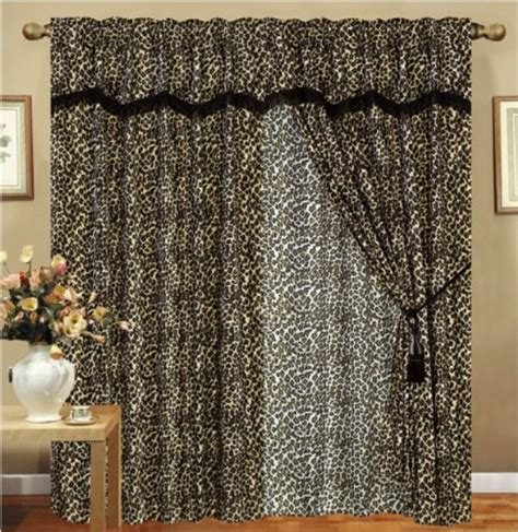 sheer leopard curtains leopard animal curtain set w valancesheertassels on sale