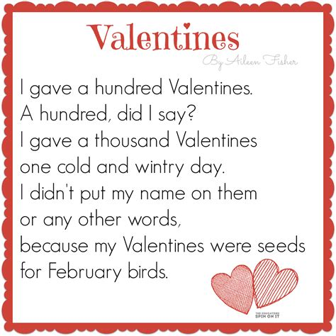 valentines day poems 100th day of school activities bird seed crafts poem