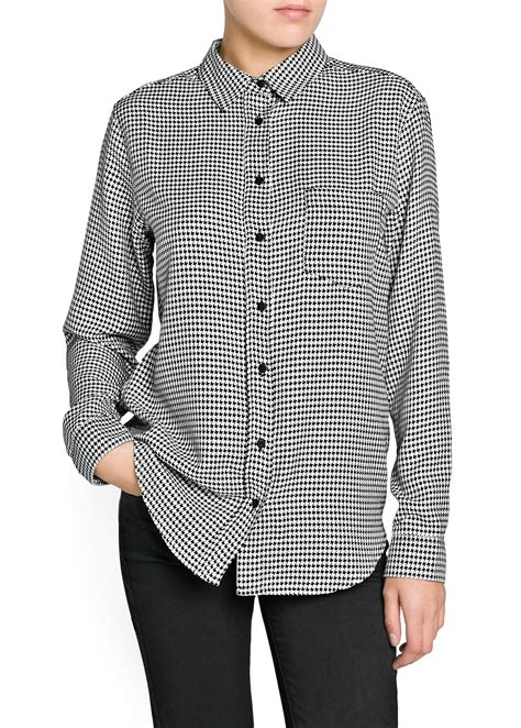 Houndstooth Shirt mango houndstooth shirt in black lyst