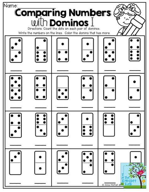 printable comparing numbers games comparing numbers count the dots on the domino write the