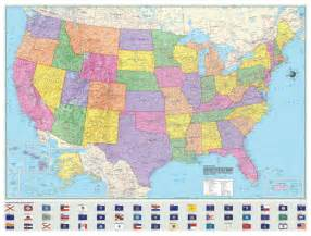 political united states us usa wall map laminated large