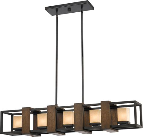 Cal FX 3588 5 Island Modern Wood/Dark Bronze Halogen Kitchen Island Light Fixture CAL FX 3588 5