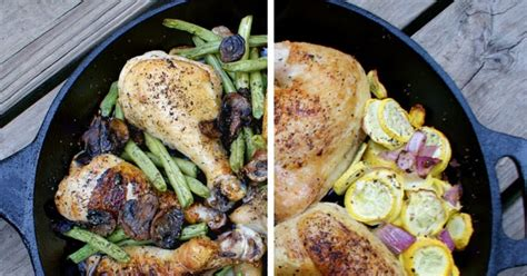 vegetables w iron cast iron skillet chicken and summer vegetables the two