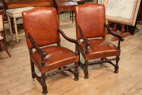 Antique Armchairs Ebay by Pair Of Armchair Furniture Walnut Wood Faux Leather Design