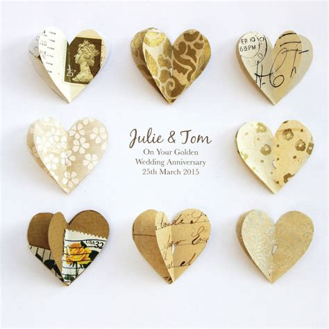 wedding anniversary golden personalised golden anniversary paper hearts by sweet
