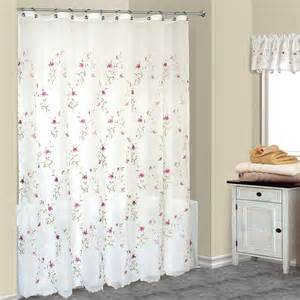 Loretta embroidered pink floral fabric shower curtain w available