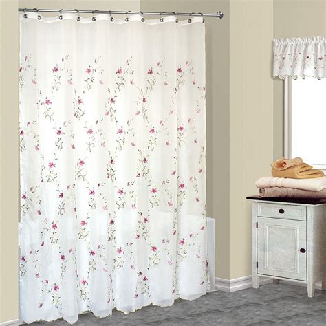 Loretta Pink Floral Embroidered Shower Curtain and Valance