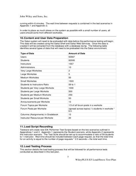load test plan template performance testing resume loadrunner skill resume sle