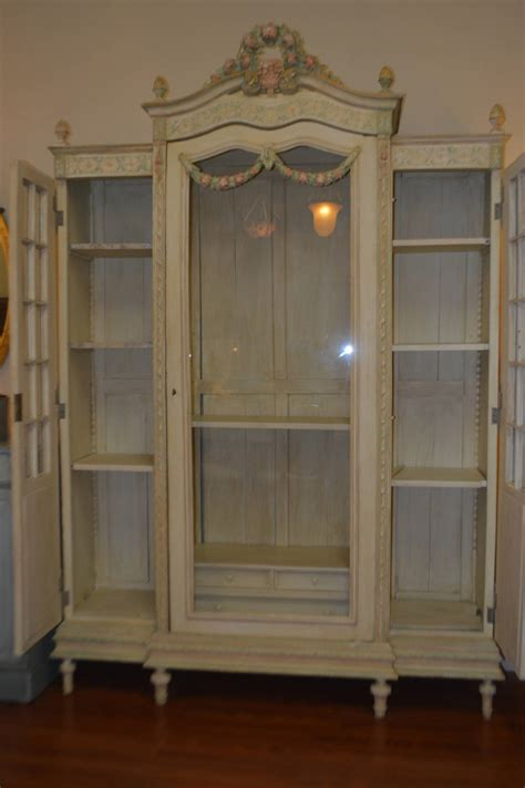 armoire with glass doors louis xvi style painted armoire with glass door for sale