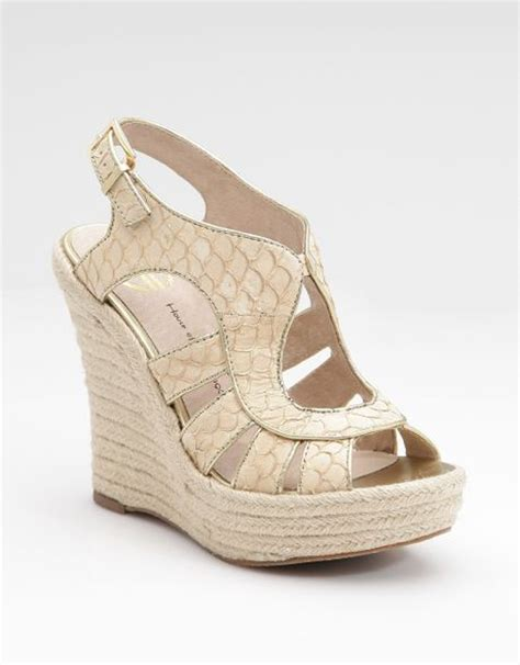 caged wedge sandals house of harlow caged wedge sandals in white gold lyst