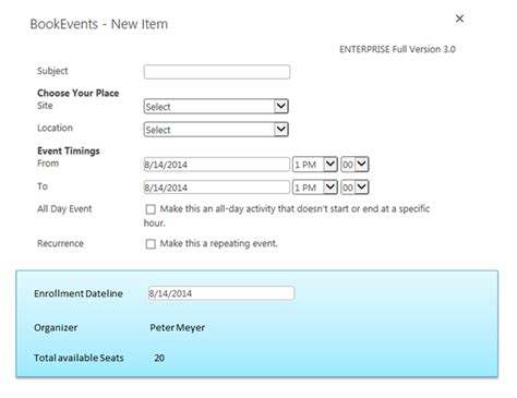 event management solution for sharepoint room manager