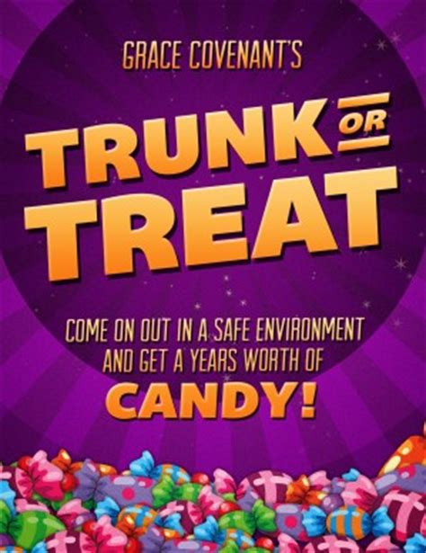trunk or treat flyer template trunk or treat fall festival celebration flyer for church