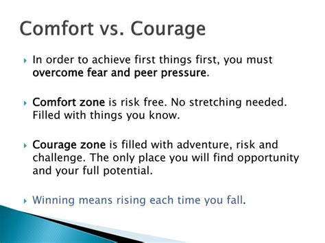 comfort zone and courage zone ppt 7 habits of highly effective teens powerpoint