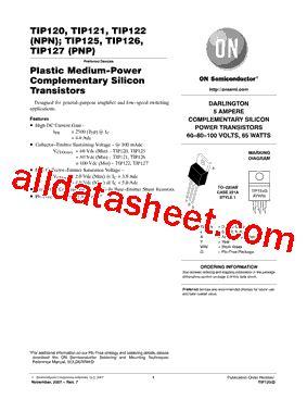 transistor tip122 datasheet pdf tip122 datasheet pdf on semiconductor