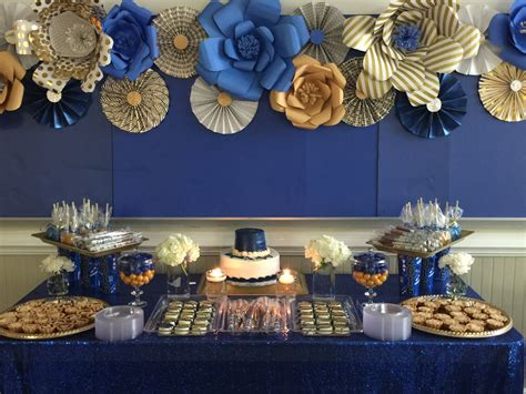 best 20 royal blue and gold ideas on pinterest prince royal blue and gold dessert table with paper flowers and