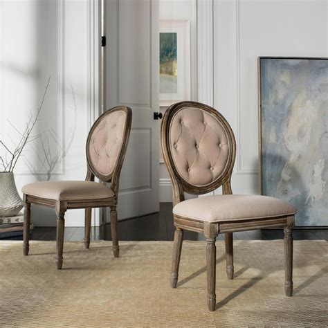 oval back chair beige safavieh holloway beige tufted oval side chair set of 2