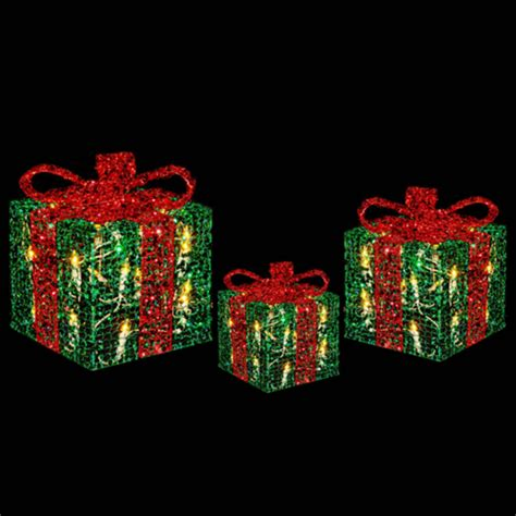 Light Up Presents by 3 X Festive Glittery Light Up Gift Boxes