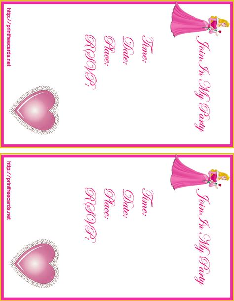 printable birthday cards princess 9 best images of free printable princess invitation cards