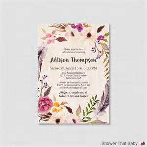 sle baby shower invitations templates boho baby shower invitation printable or printed bohemian