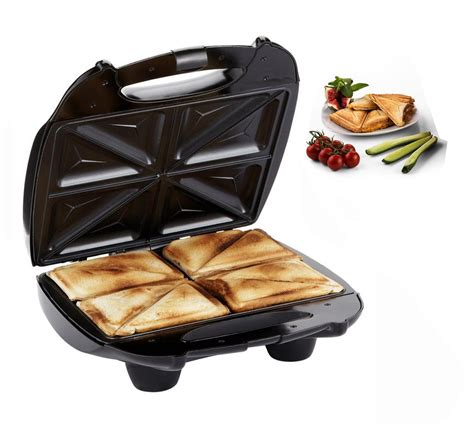 Sandwich Toaster 4 slice black large family sandwich toaster maker machine non stick ebay