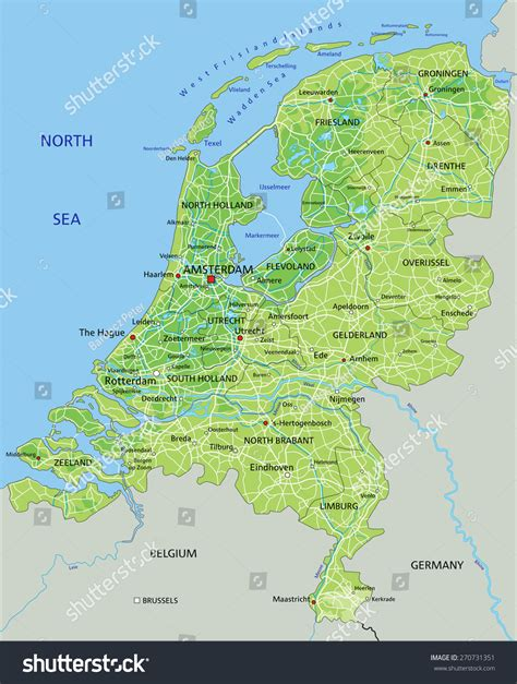 physical map of netherlands high detailed netherlands physical map labeling stock