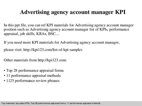Agency Manager by Advertising Agency Account Manager Kpi