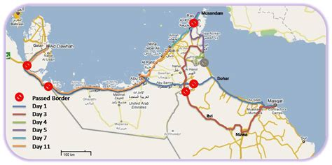 uae map with distance uae oman trip itinerary distances cgk doh