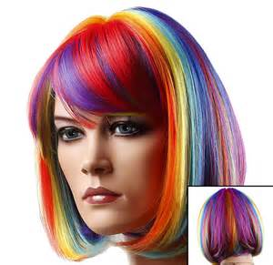 colorful wig colored wigs rainbow multi colored wig
