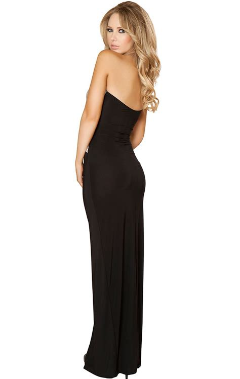 strapless gown with cutout sides by sequins cut out side slit gown n8650