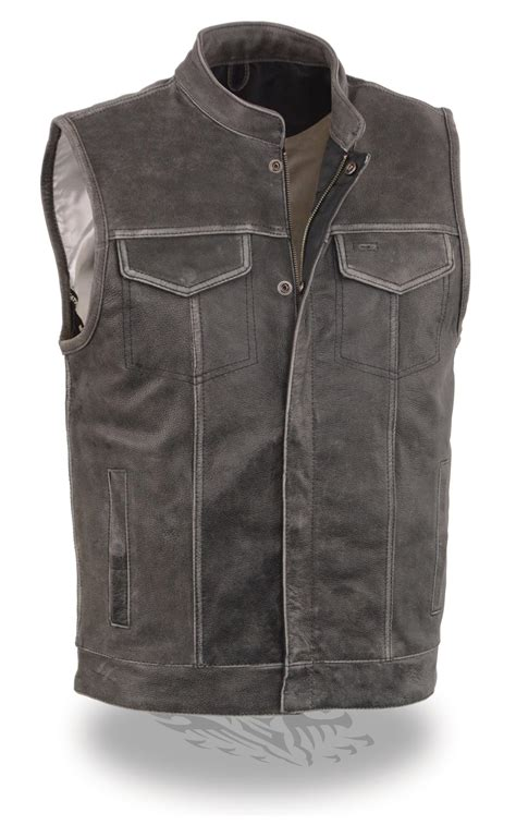 biker vest mens distressed grey leather soa style biker motorcycle