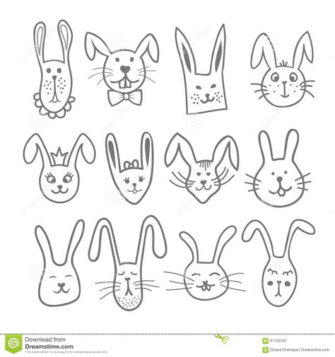 how to draw a doodle bunny doodle bunny heads set in pet animal