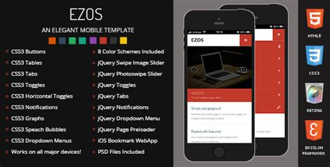 mobile template html5 ezos mobile retina html5 css3 and iwebapp by enabled