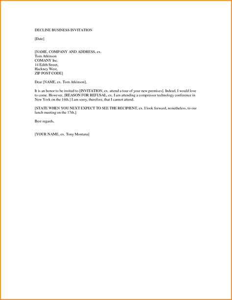 Decline Advertising Letter Formal Decline Letter Financial Statement Form