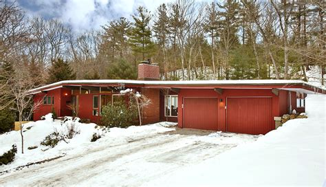Mid Century Modern Home exterior three mid century modern homes with red wall and