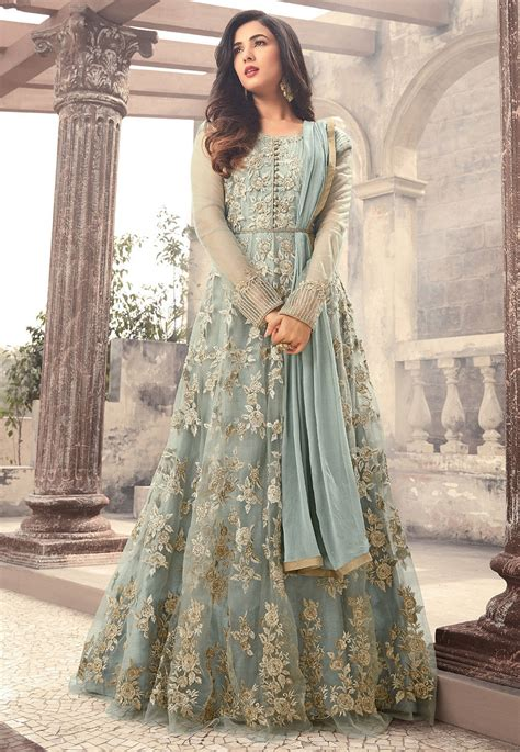 design net clothes embroidered net abaya style suit in pastel blue kch1010