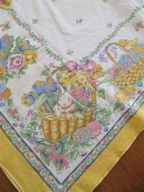 vintage easter cotton tablecloth bunnies ducks easter