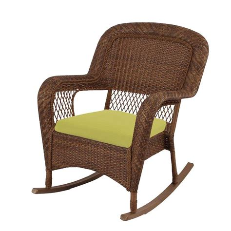Wicker Patio Chair Martha Stewart Living Charlottetown Brown All Weather Wicker Patio Rocking Chair With Green Bean