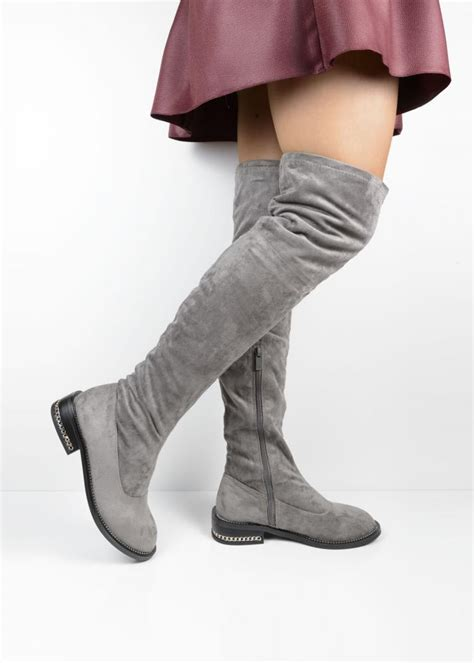 xw37268 grey chain suede the knee boots from lu boo