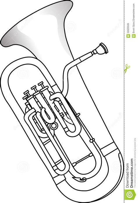 euphonium coloring page sousaphone silhouette sketch coloring page