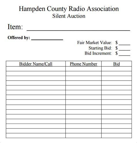 auction sheets template sle silent auction bid sheet 6 exle format